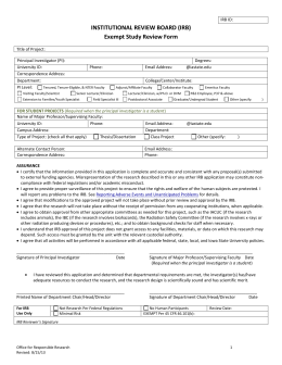 Exempt Study Review Form - the Office for Responsible Research