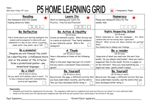 P5 Home Learning Grid - Paradykes Primary School