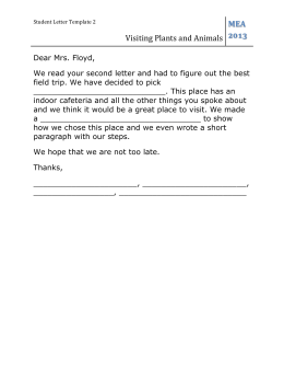 Letter Template 2 Visiting Plants and Animals 47450