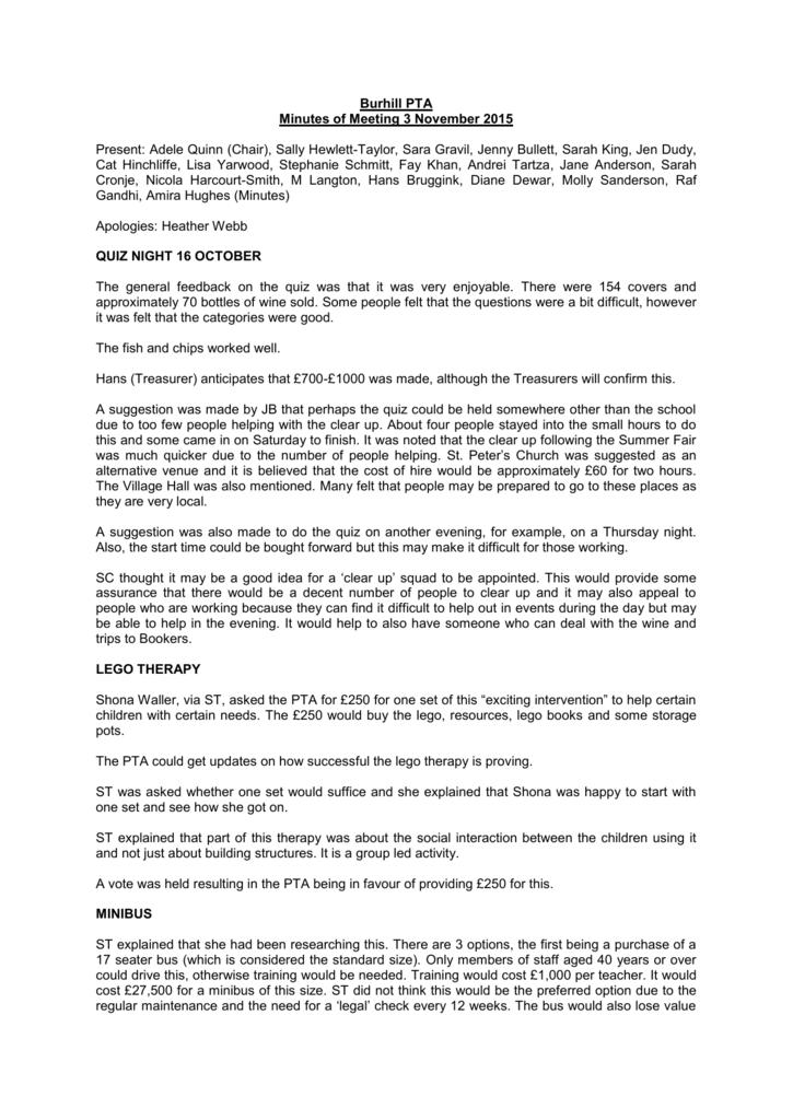 Minutes PTA Meeting 3 Nov 2015