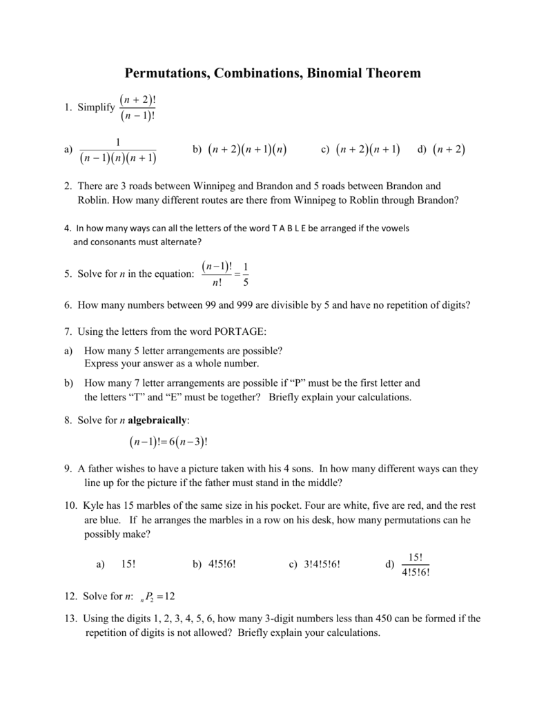 Worksheet Binomial Theorem Worksheet permutations combinations binomial theorem