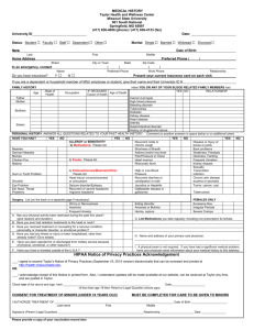 Medical History Form - Taylor Health and Wellness Center