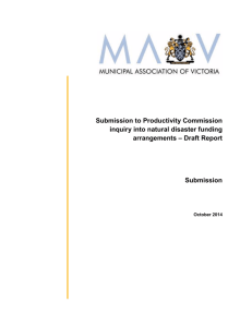 Submission to Productivity Commission inquiry into natural disaster