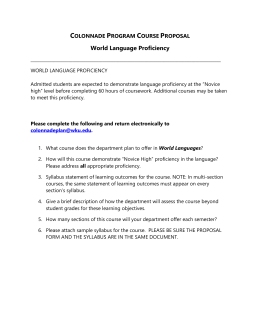 World Languages Proficiency (WL)