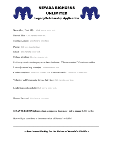NEVADA BIGHORNS UNLIMITED Legacy Scholarship Application