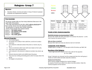 Notes on Halogens