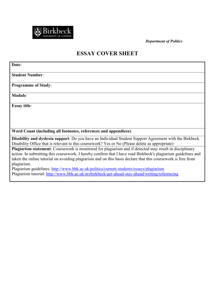 bbk coursework cover sheet
