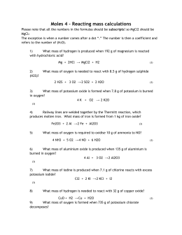 Honors Chemistry Worksheet 3 Stoichiometry Practice Problems