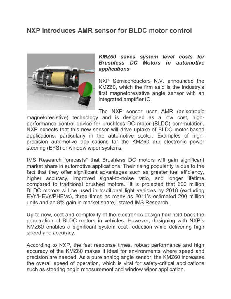 NXP introduces AMR sensor for BLDC motor control