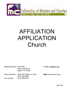 Affiliation Application for a church