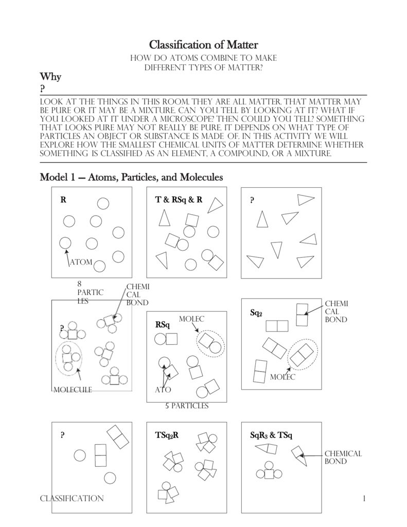 Ap chemistry classification of matter worksheet