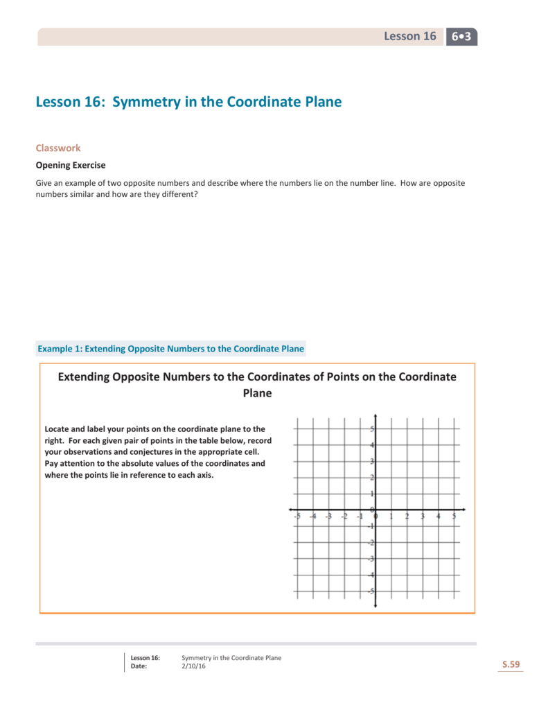 lesson 16 symmetry in the coordinate plane