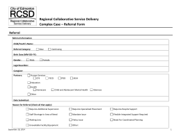 Complex Case Referral Form - Regional Collaborative Service