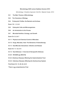 Microbiology 2420 Lecture Syllabus Summer 2015
