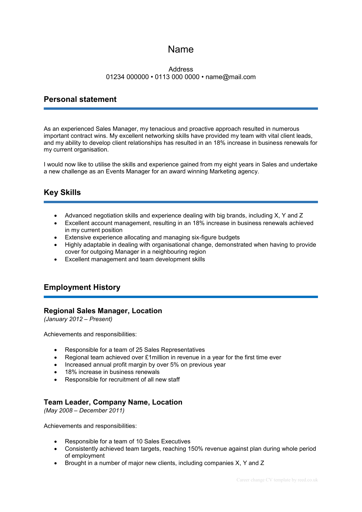 Career change CV template now