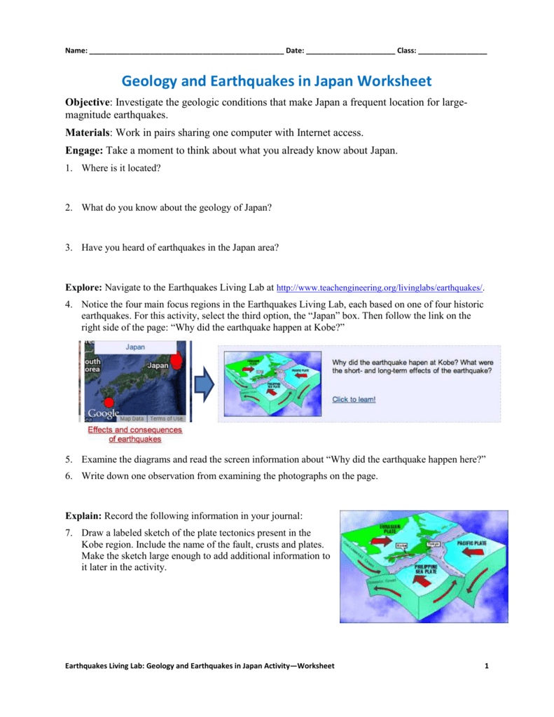 Geology and Earthquakes in Japan Worksheet