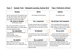 Year 3 Autumn Term Homework Learning Journal Grid Topic