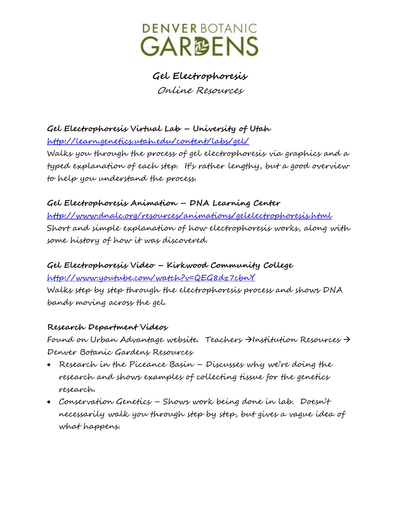 Gel Electrophoresis Online Resources