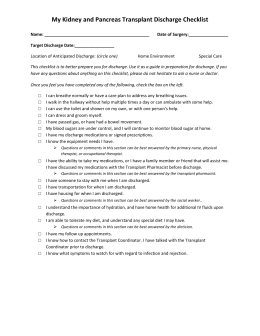 My Kidney and Pancreas Transplant Discharge Checklist