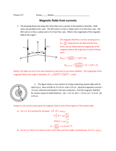 Magnetic Fields from Currents Group Worksheet Solution