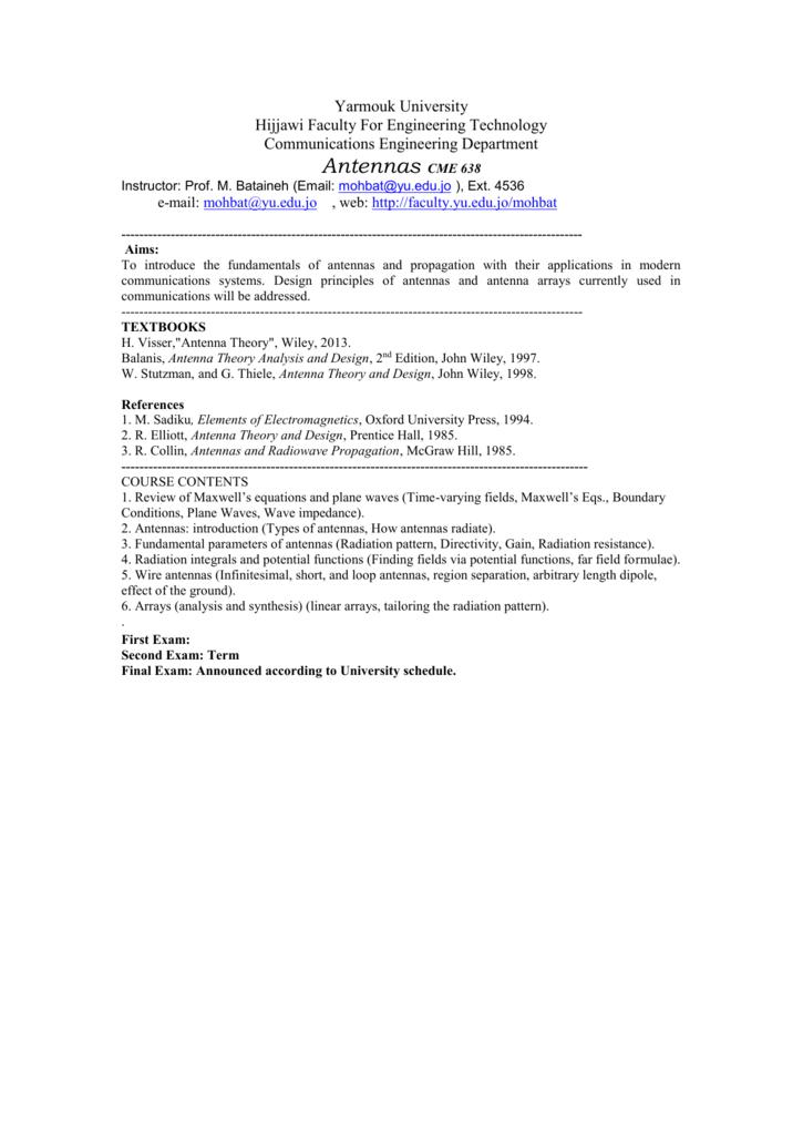 ANTENNAS Syllabus20142015