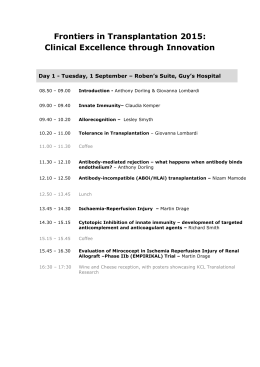 Frontiers in Transplantation 2015
