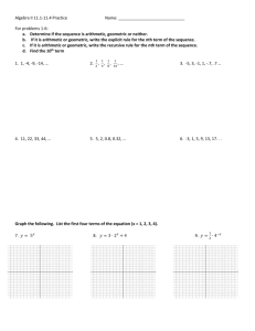 Algebra II 11.1-11.4 Practice Name: For problems 1