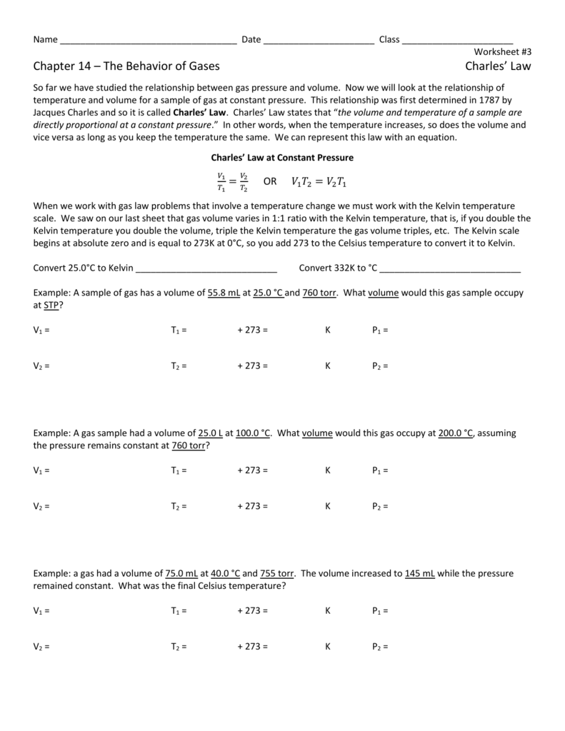 Worksheets Behavior Of Gases Worksheet ch 14 ws 3 charles law