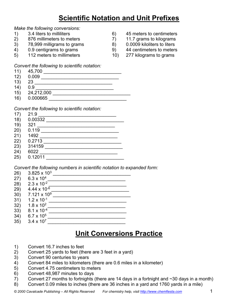 Moles Molar Mass Conversions Scientific Notation With Answers