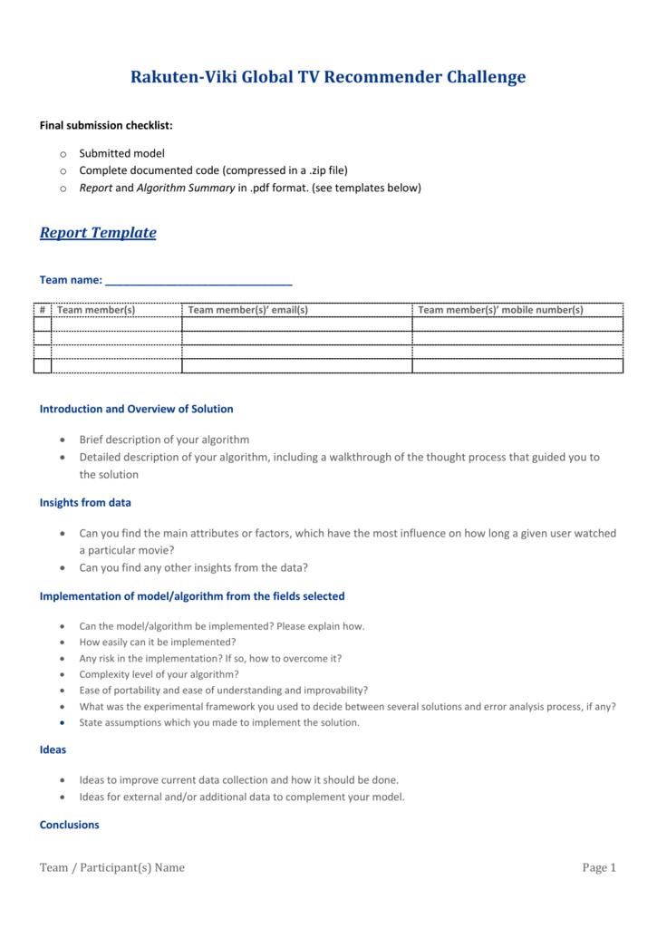 Algorithm Summary Template