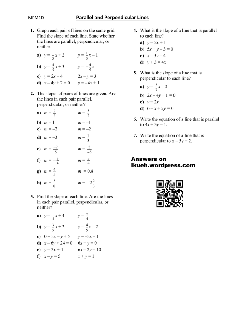 Lesson 4 Parallel and Perpendicular Lines Worksheet – Writing Equations of Lines Worksheet