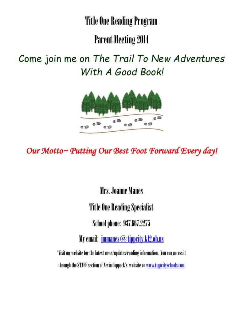 Title One Reading Program Parent Meeting
