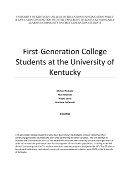 First Generation Scholarly Learning Community White Paper