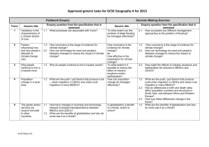 Approved Generic Tasks for assessment in 2013