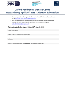 Abstract Submission Form - Oxford Parkinson`s Disease Centre