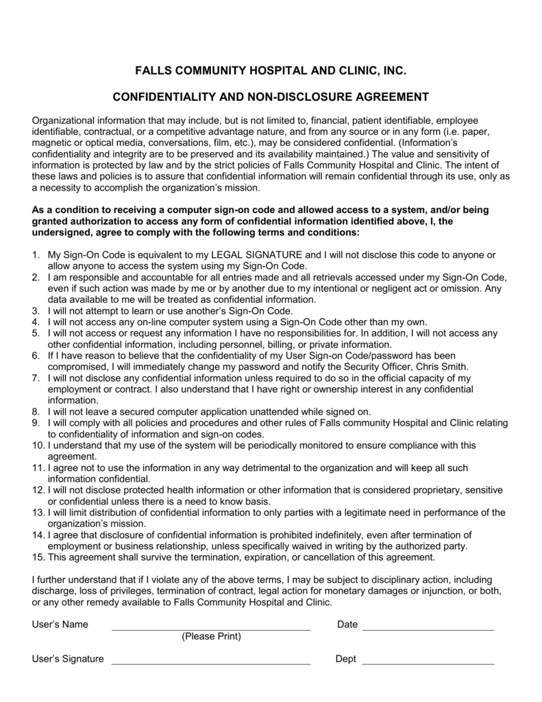 Confidentiality And Non Disclosure Agreement Doc