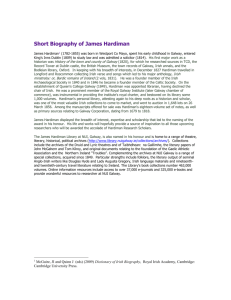 Short Biography of James Hardiman - National University of Ireland