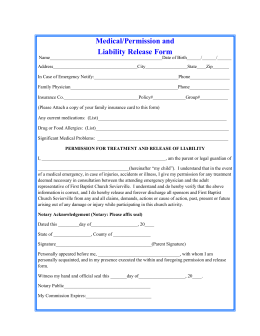 medical release form - First Baptist Church of Sevierville