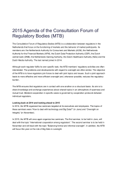 2015 Agenda of the Consultation Forum of Regulatory Bodies (MTB