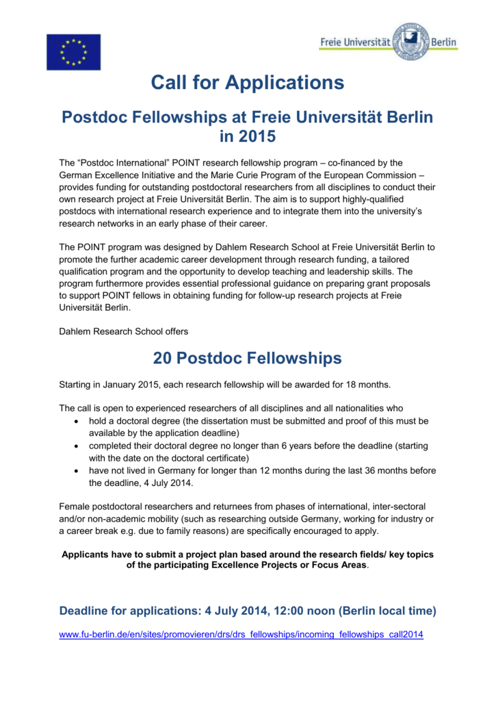 Call for Applications - Freie Universität Berlin