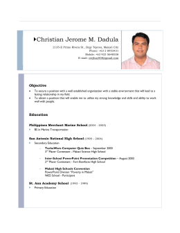 Resume: Christian Jerome M. Dadula } Resume: Christian Jerome