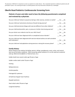 Cardiac Sports Screening Form