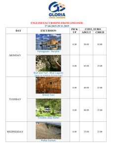 The programme of English excursions from Limassol