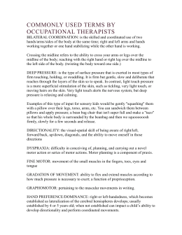Commonly Used Terms by Occupational Therapists