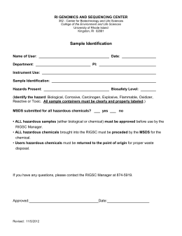 Sample Identification Form - University of Rhode Island