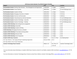 Semester Two 2013-2014 Support Schedule