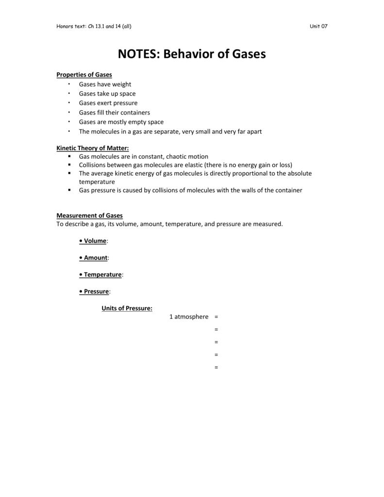 Worksheets Behavior Of Gases Worksheet notes behavior of gases