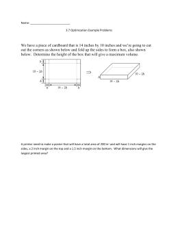 Optimization Worksheet