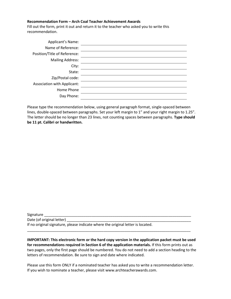 arch coal inc community teacher recommendation form