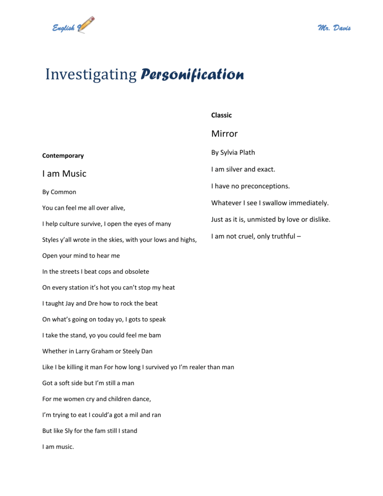 personified poems on mirror